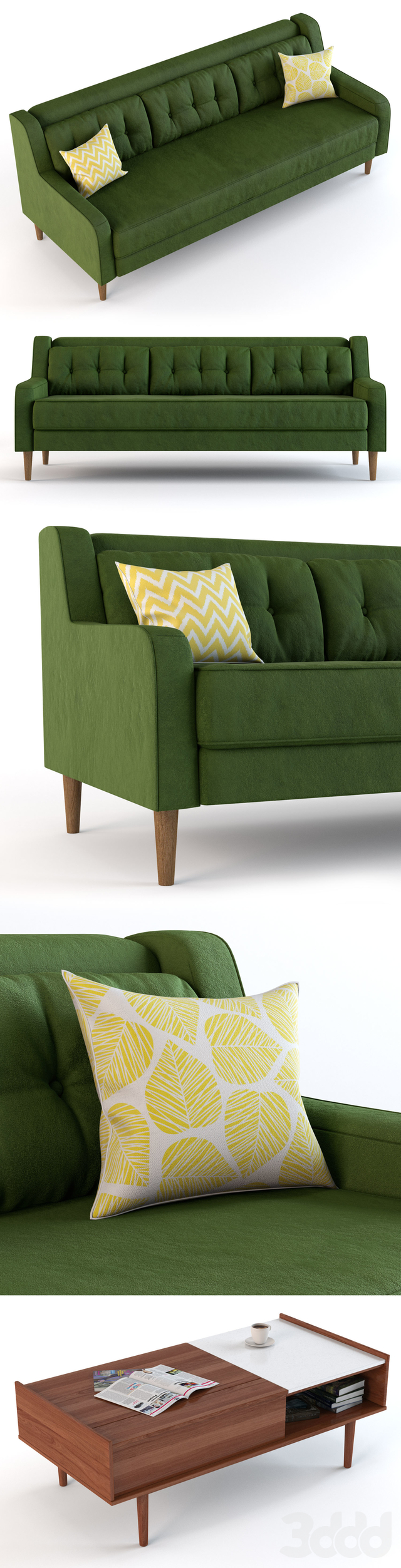 Crosby Mid Century Sofa and Pop-Up Storage Coffee Table