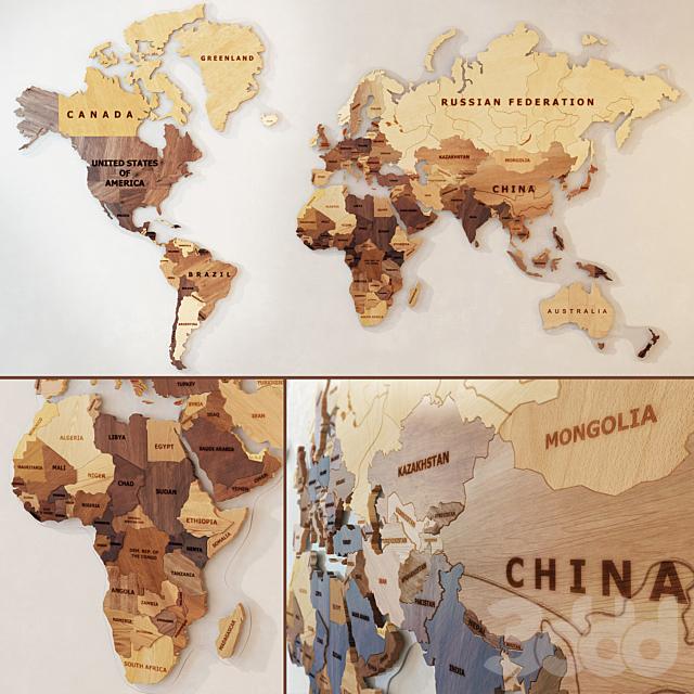 Карта мира из дерева.
