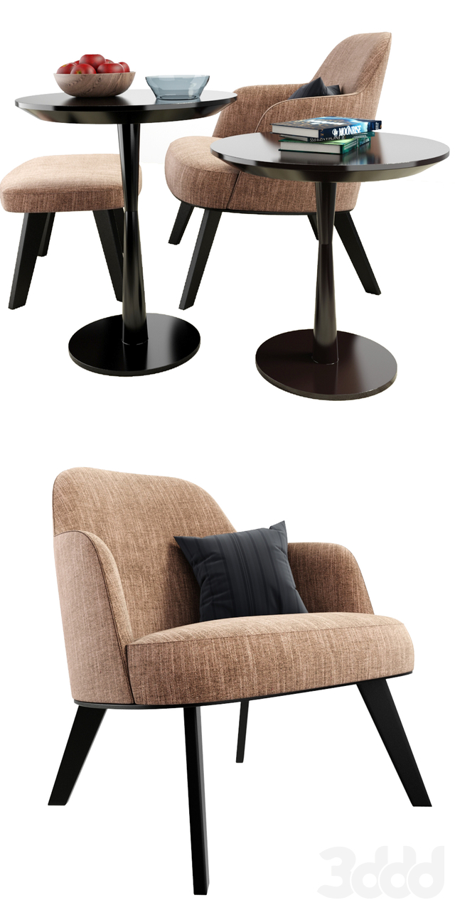 Poliform Jane Armchair And Ottoman With Carpet