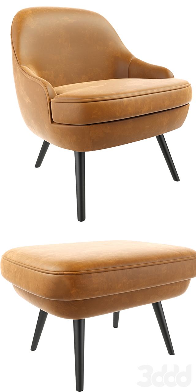 375 walter knoll Armchair With Ottoman