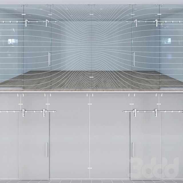 Стеклянная перегородка с раздвижными дверьми - 2