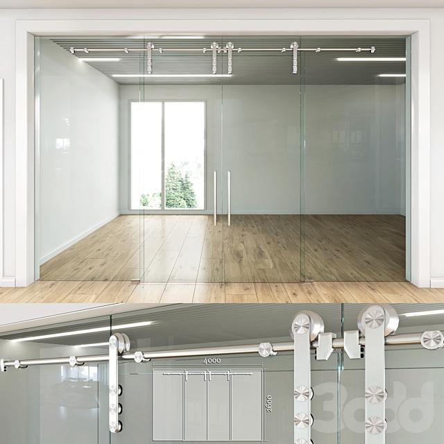 Стеклянная перегородка с раздвижными дверьми - 4