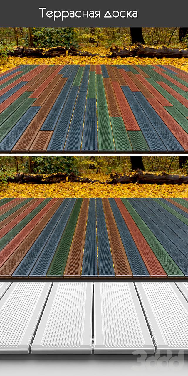 Разноцветная террасная доска на лагах, 4 вида, вариант 6