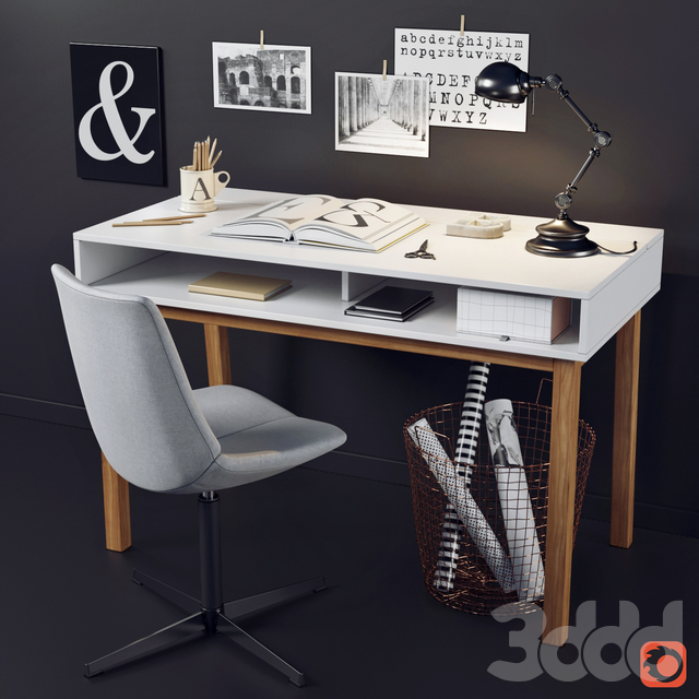 Рабочий стол и стул с декором La Redoute