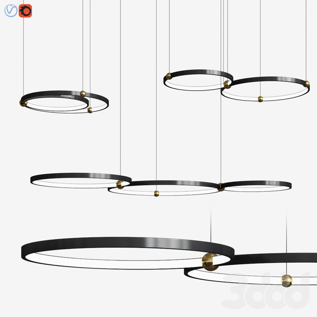 Planetary Rings Chandelier Lampatron
