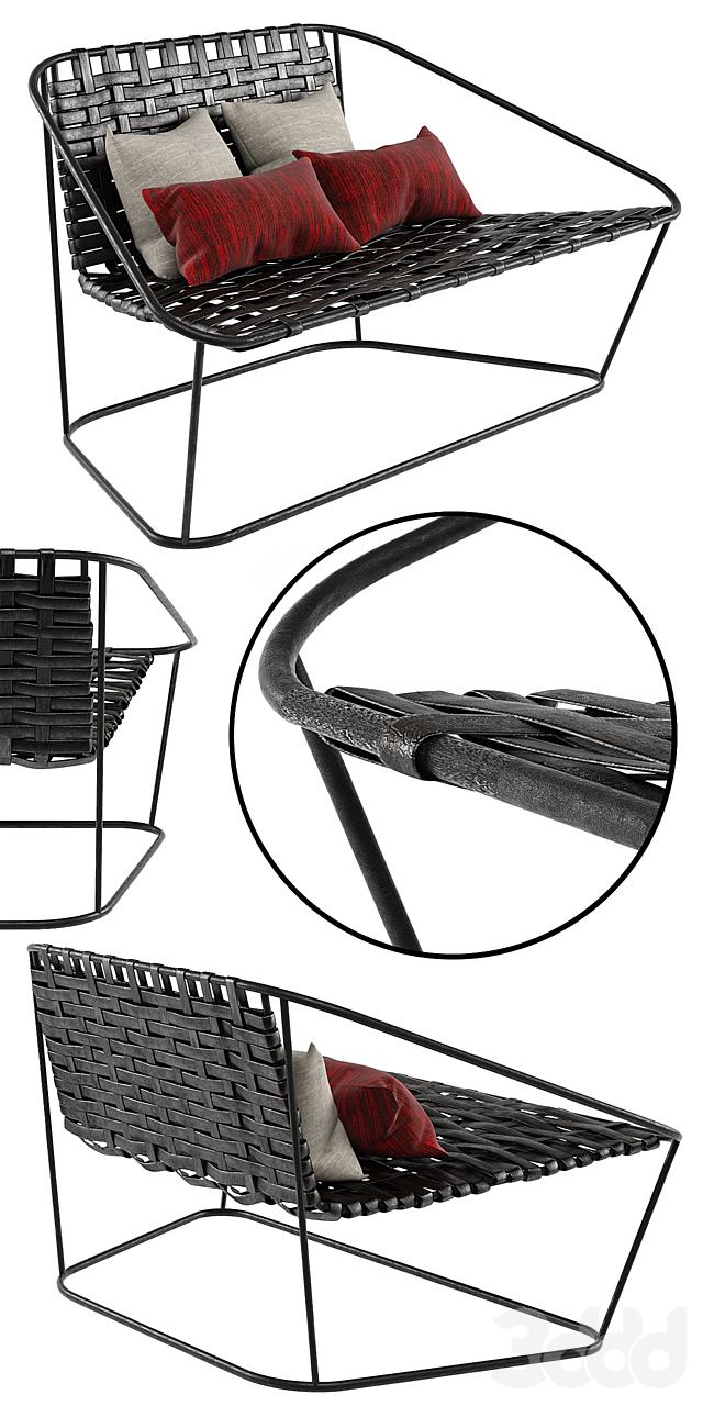 Small Sofa Arflex Cloud Carlo Colombo Woven Chair