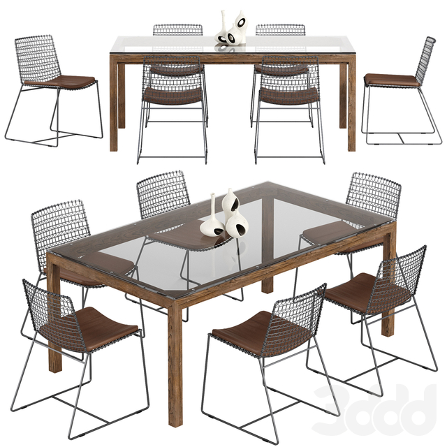 Crate and Barrel Tig chair Parsons table set