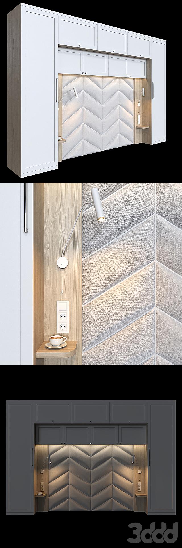 Шкаф с изголовьем для небольшой спальни 2.