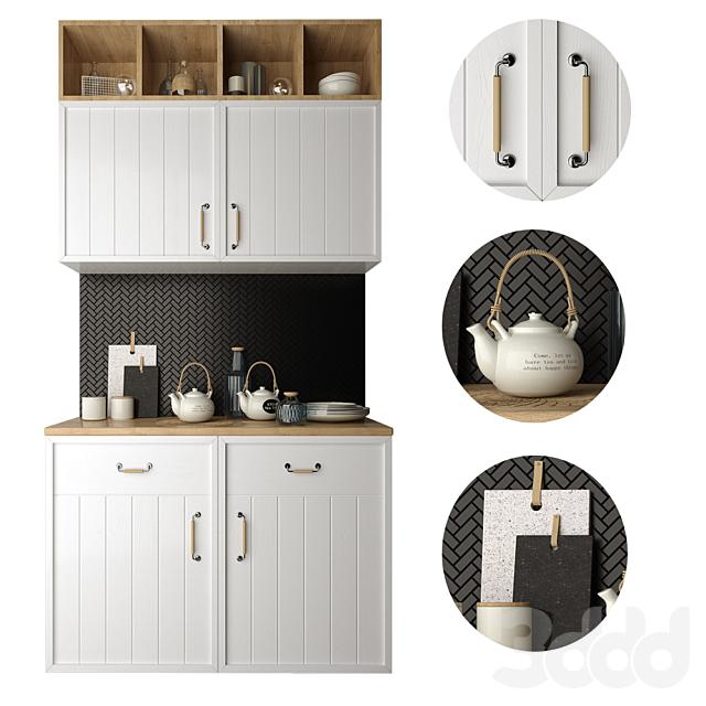 Кухонная секция с набором кухонной посуды