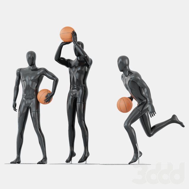 Three faceless mannequins basketball 29