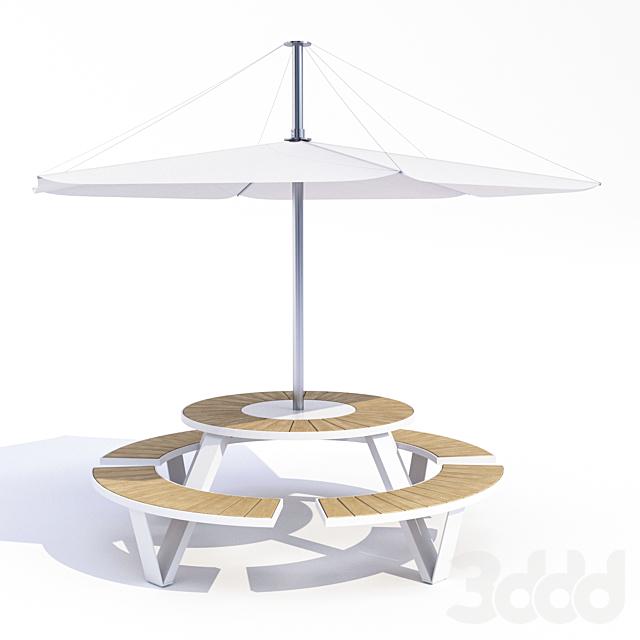 Стол Аданат Ландау с зонтом