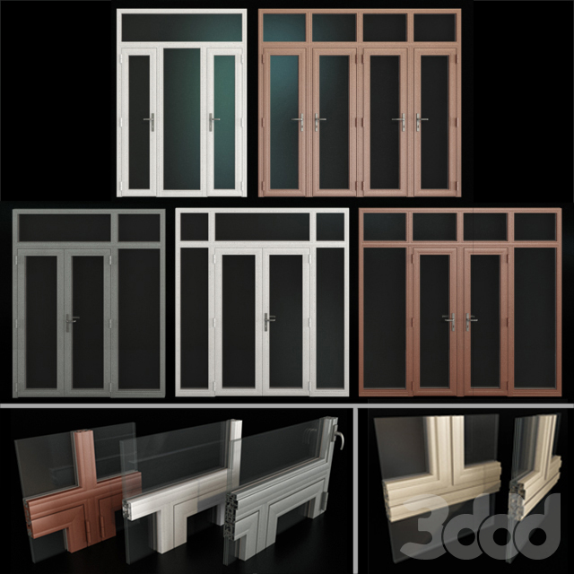 Витражные алюминиевые двери / Stained aluminum doors