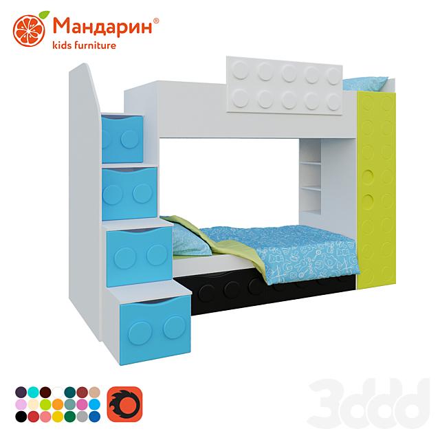кровать двухъярусная детская с доп.спальным местом