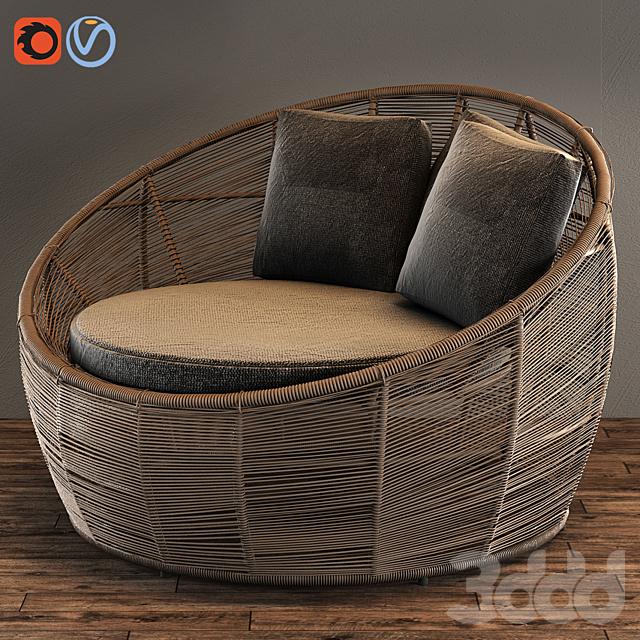 TAMARIN Round Grey Resin Wicker Garden Armchair