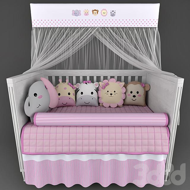 Детская кроватка Mon Tresor и белье в кроватку  Friends Safari Rosa
