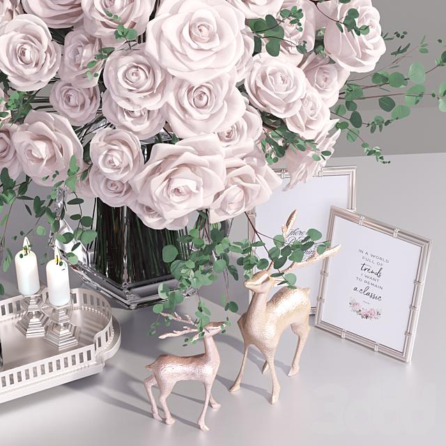 Classic French Roses Vase Deer Decorative Set