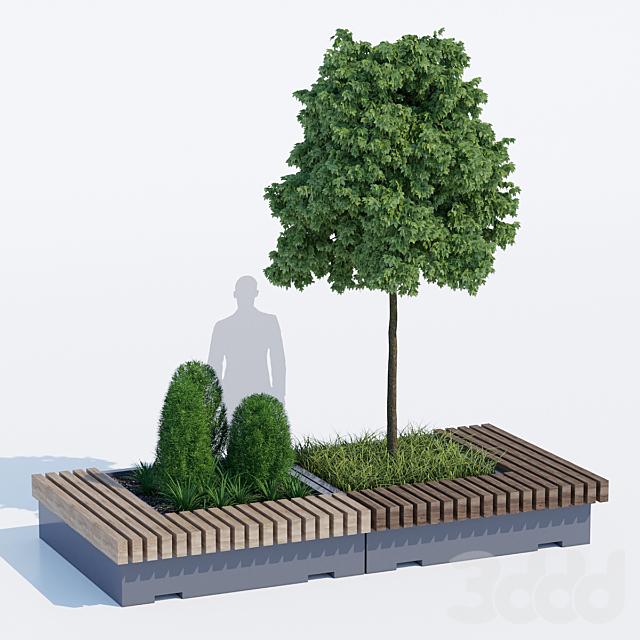 Big green benches tree