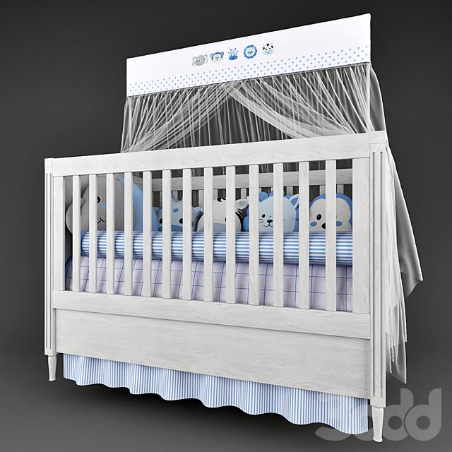 Детская кроватка Mon Tresor и белье в кроватку Friends Safari  Blue