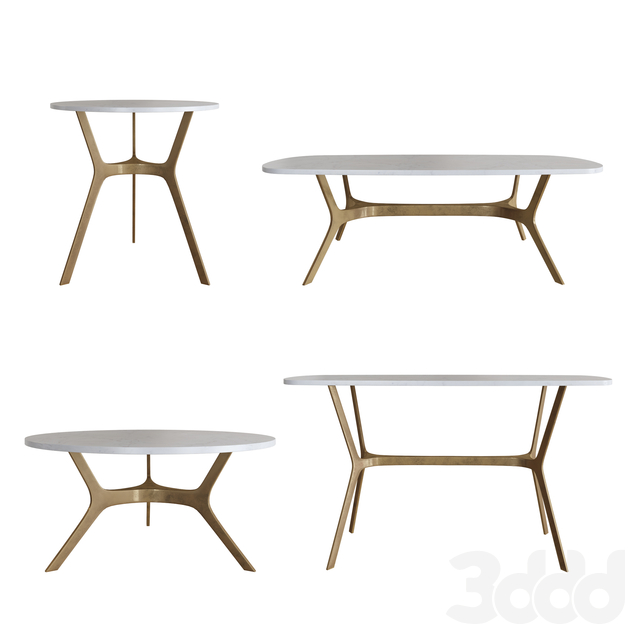 3d Modeli Stoly Elke Round Marble Side Table Crate And Barrel