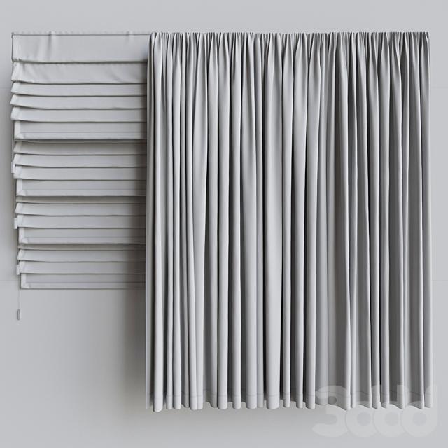 Набор портьер + набор римских штор 1. Серая гамма