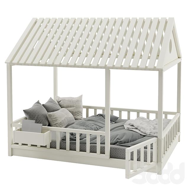 Детская кровать с колоннами №3
