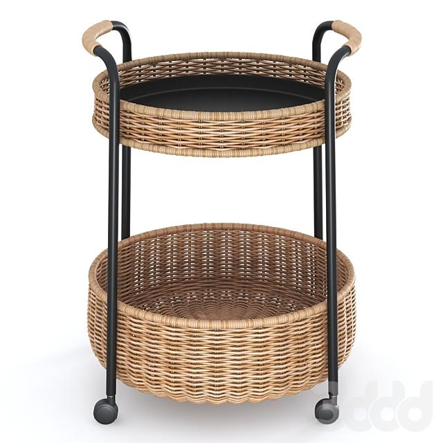 ЛУББАН Столик на колесах с ящиком, ротанг, антрацит от Икеа | LUBBAN Serving cart with storage, rattan, anthracite by Ikea