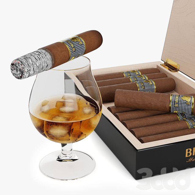 Cohiba сигары и виски со льдом