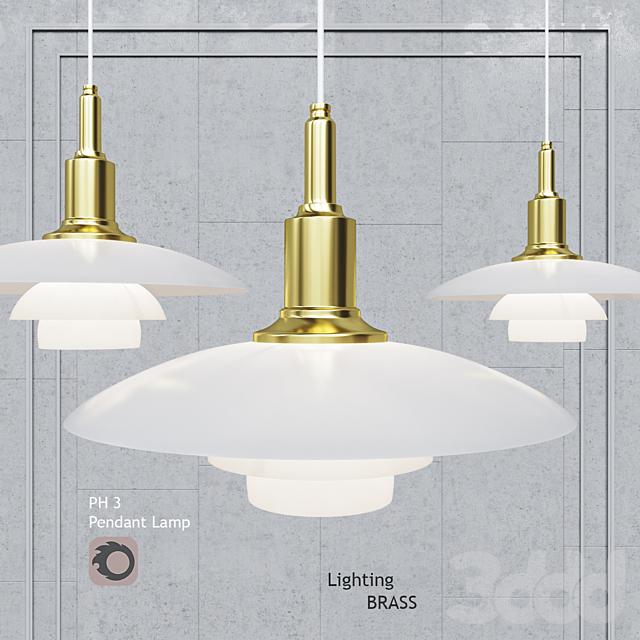 Подвесной светильник Poul Henningsen PH3 Glass Brass Gold Pendant Lamp