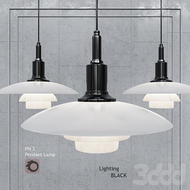 Подвесной светильник Poul Henningsen PH3 Glass Black Gold Pendant Lamp