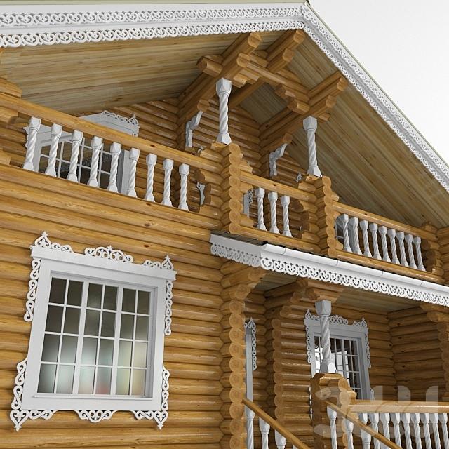 Бревенчатый дом в народном стиле