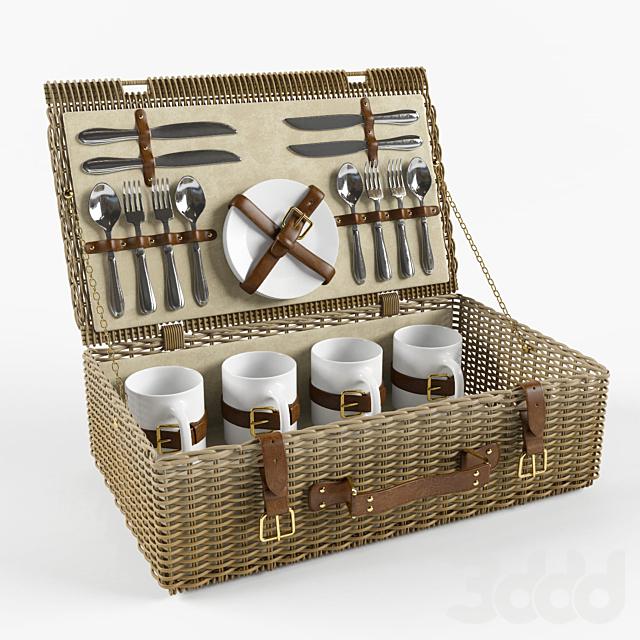 Набор для пикника (чемодан плетеный)