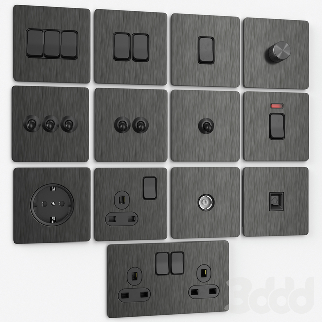 LIWBET brushed steel wall switches & sockets
