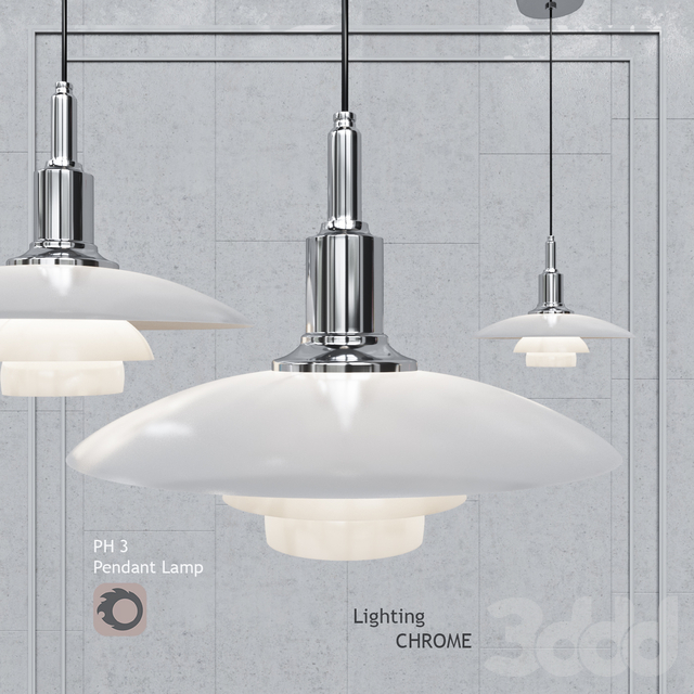 Подвесной светильник Louis Poulsen PH3 Glass Chrome Pendant Lamp