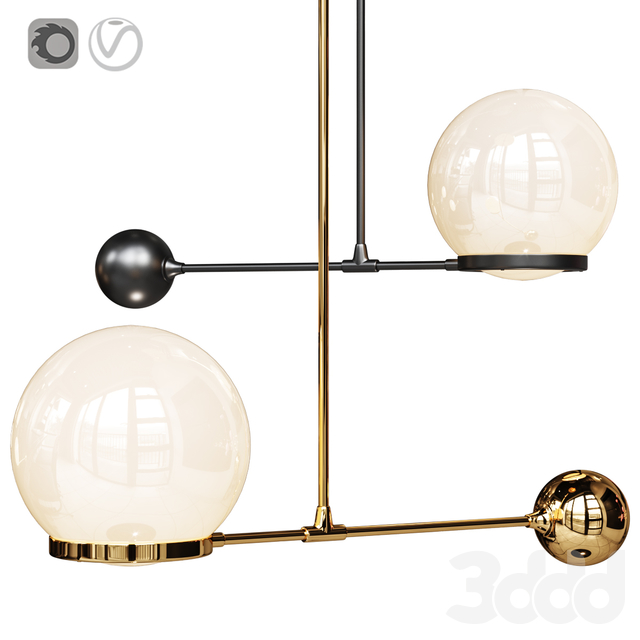 Светильник O&G contrapesso 8inch globe led pendant Gold and Matte Black