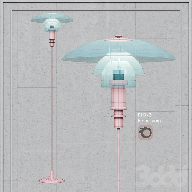 Торшер Louis Poulsen PH 3/2 Floor Lamp white glass and gold bace