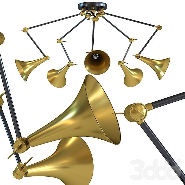 Pendant Lamp Trumpet Brass Spider 5-lite