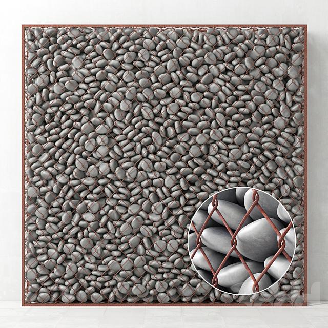 Габион большой с серой галькой / Gabion big gray pebble