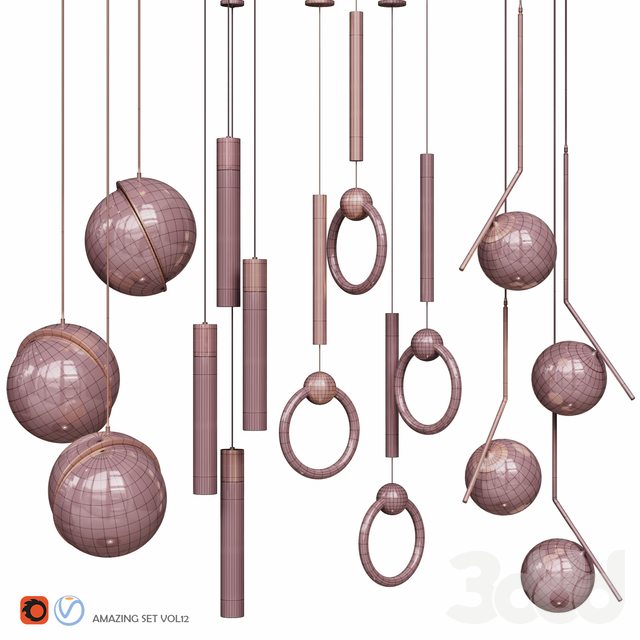 Four Pendant Lights amazing set vol12