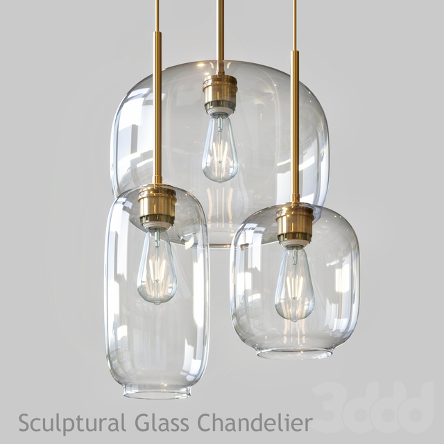 Sculptural Glass Chandelier