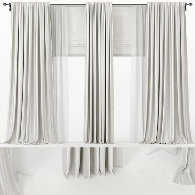 Широкие шторы с римской и тюлем.