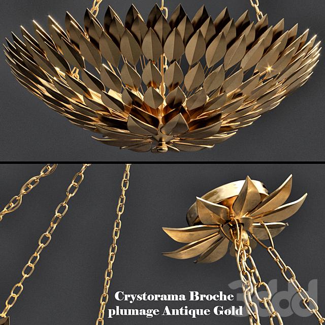 Crystorama Broche plumage Antique Gold CHANDELIER