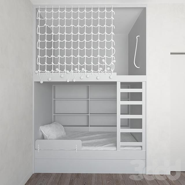 Двухъярусная конструкция с кроватью и игровым ярусом