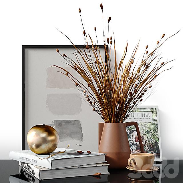 Decorative set with dried Bell Grass and Splinter Grass