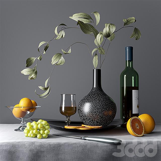 Натюрморт с фруктами, посудой и коньяком