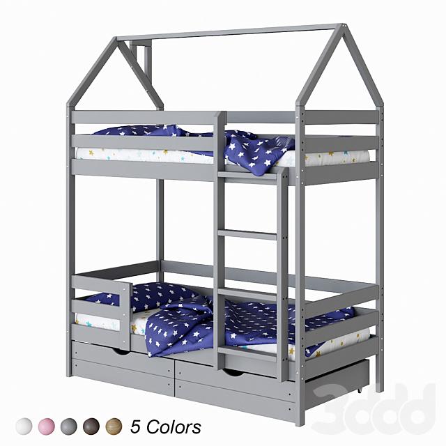 Детская двухъярусная кровать-домик ЭКО