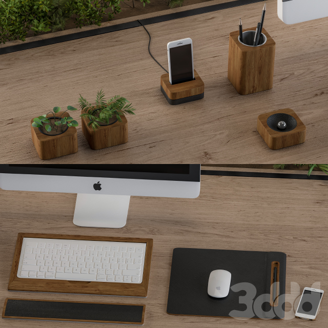 Office Furniture Wood and black set