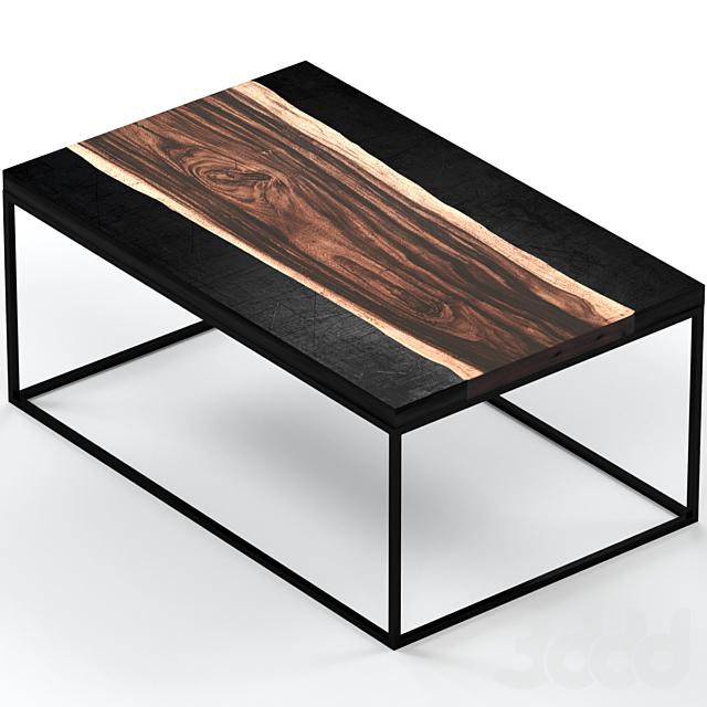 Журнальный столик из слэба и металла.