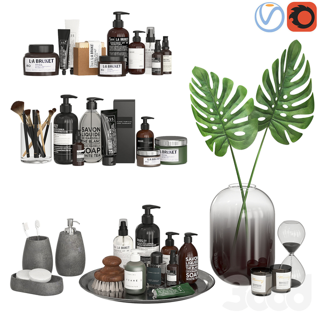 Bathroom Decor Accessories and Cosmetics - Dark
