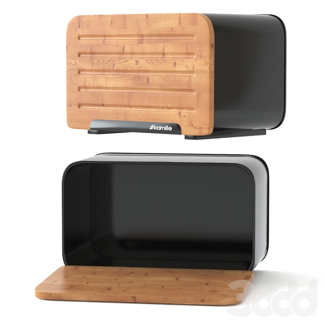 Хлебница с бамбуковой крышкой Kamille KM-1107 Black