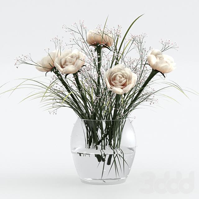 Букет из травы и цветов.